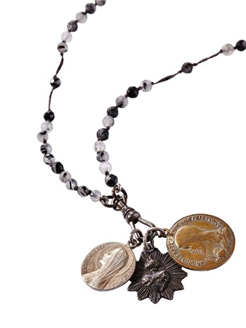 rutilated black quartz rosary necklace
