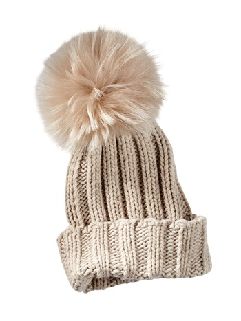 wide rib cashmere knit hat