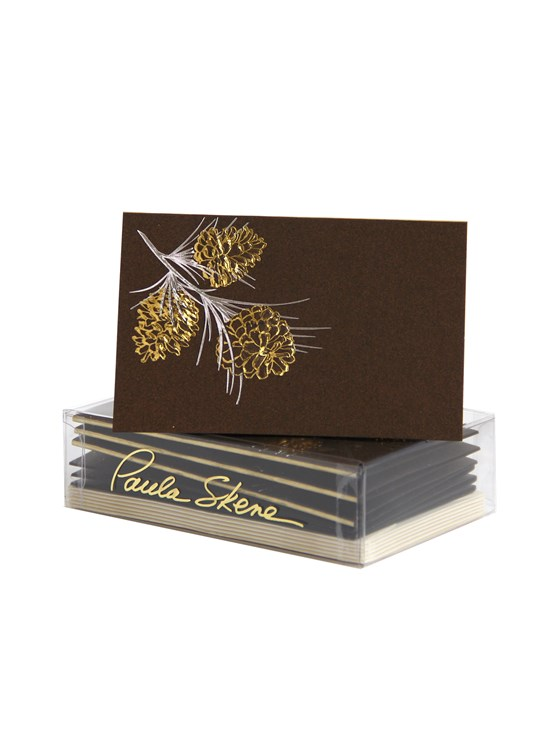 brown pine cone enclosure card set