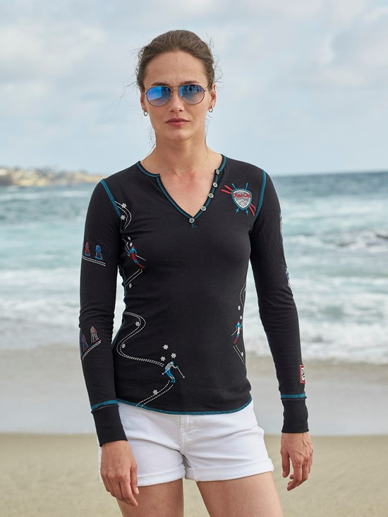 ski run henley shirt