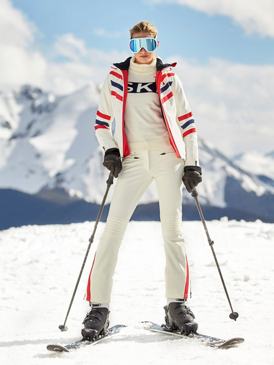 chevron stripe insulated ski jacket