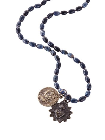 surfer blue rosary necklace