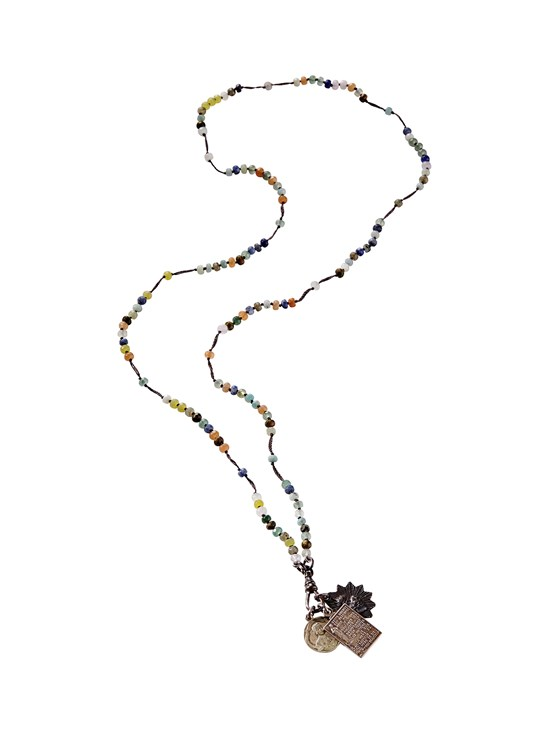 agate rondelle rosary necklace
