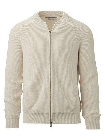 cotton rib raglan sleeve zip cardigan