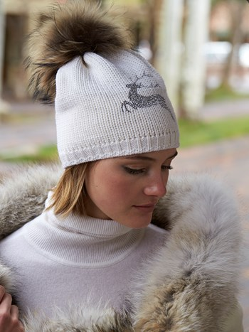 wood stag wool knit hat