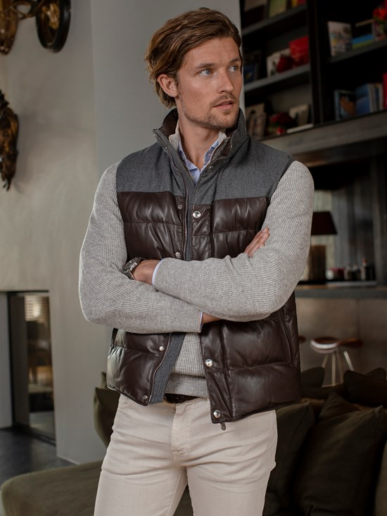 nappa flannel down vest