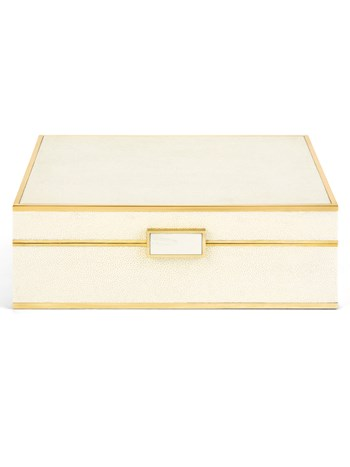 cream shagreen large jewelry box