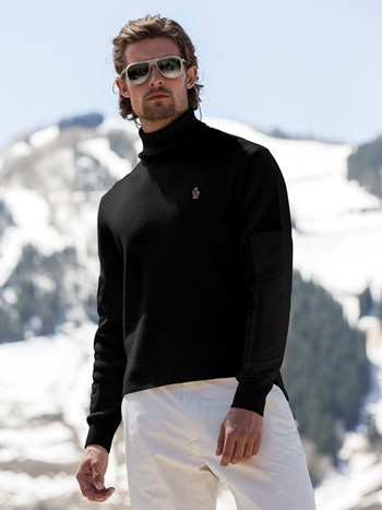rib knit turtleneck ski sweater