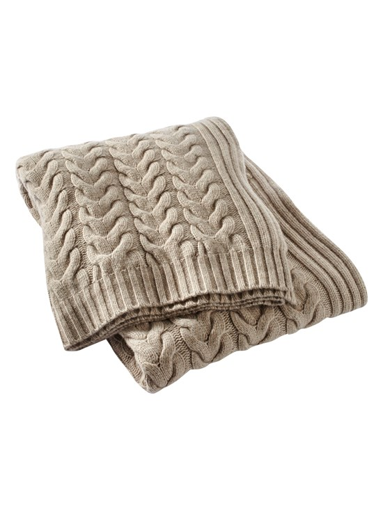 classic cashmere cable knit throw