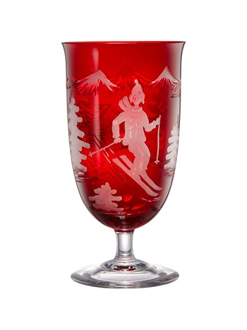 engraved crystal skier wine glass