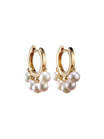 small pearl drop hoop earring