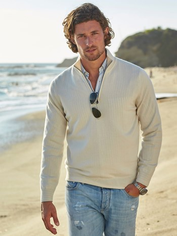 cashmere quarter zip sweater