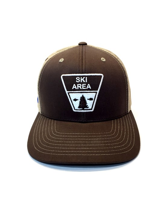 ski area sign hat