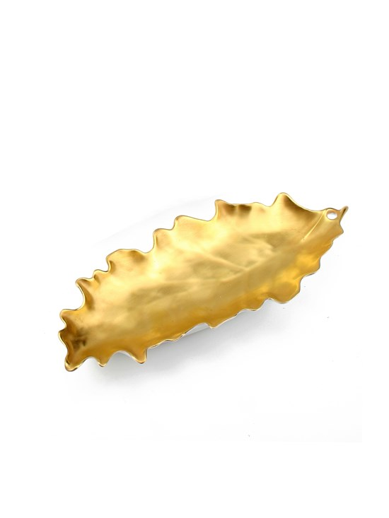 gold oak leaf dish