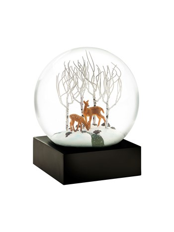 deer in woods snow globe
