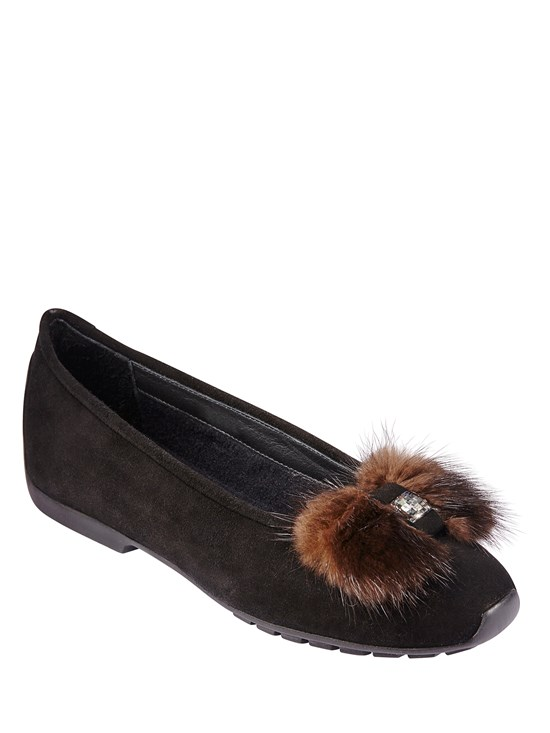 suede mink bow flat