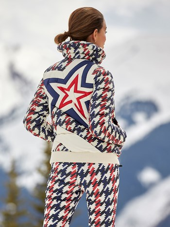 super star houndstooth ski jacket
