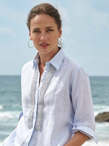 kerry pearl long linen shirt