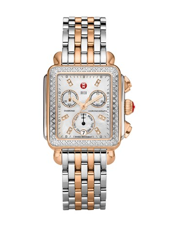 deco two tone rose gold, diamond dial watch