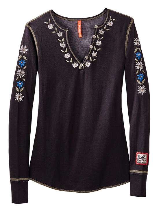antler beaded henley shirt