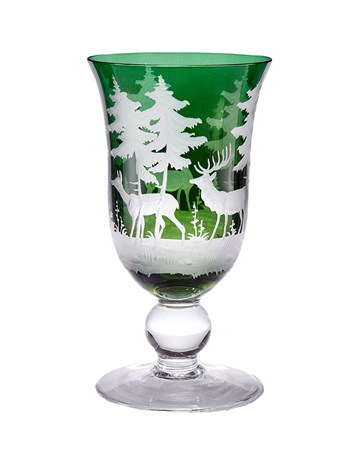 engraved crystal stag wine glass