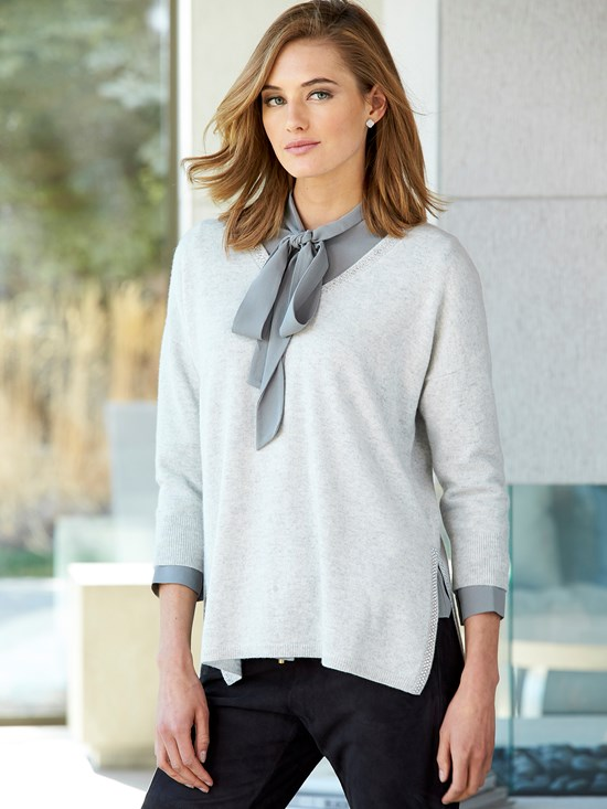 roberta cashmere crystal v neck sweater