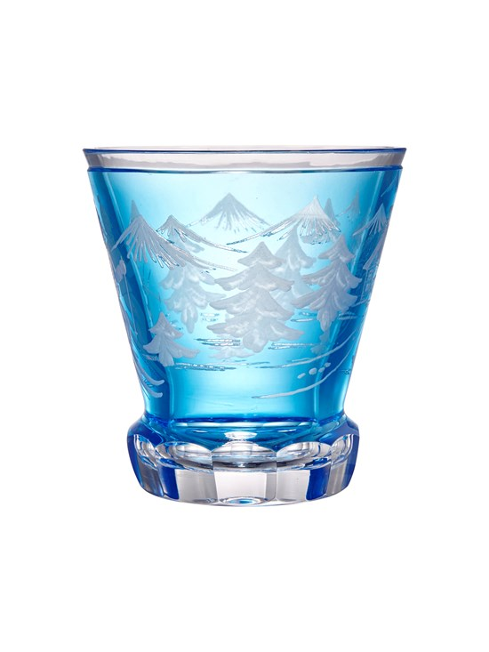 large engraved crystal skier votive