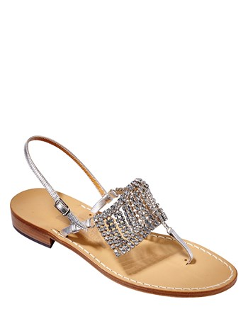 leather diletta crystal sandal