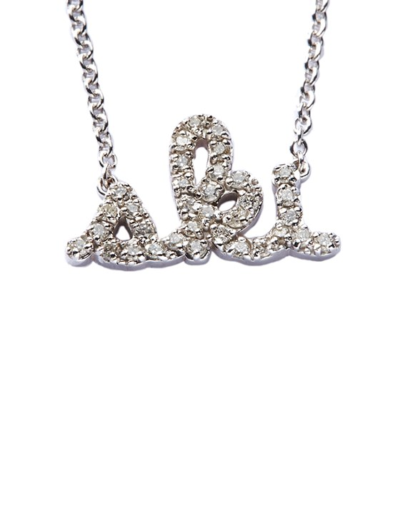 pavé diamond ski necklace