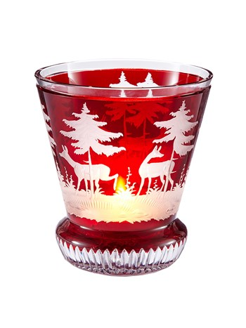 large engraved crystal stag votive