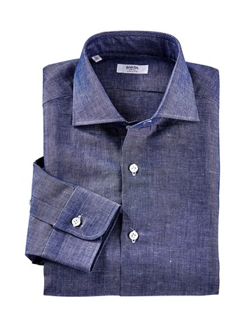 linen cotton indigo shirt