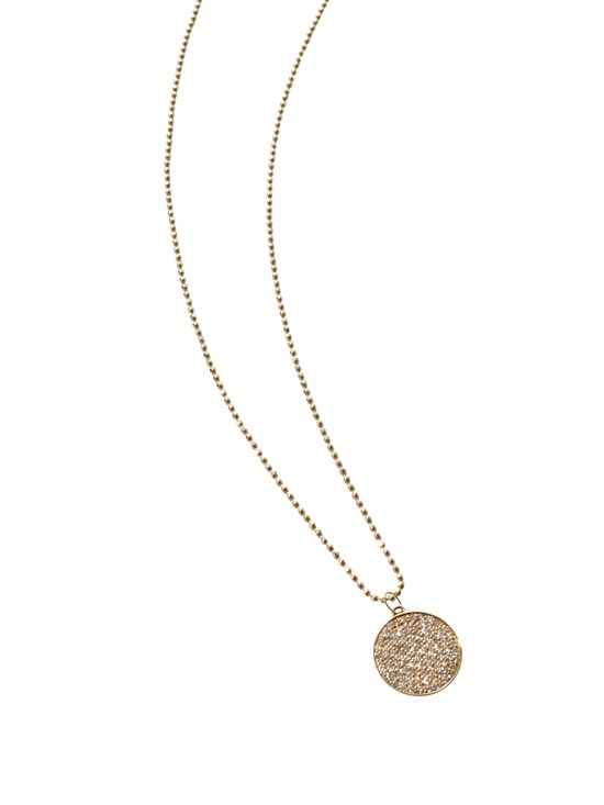 large disc yellow gold necklace