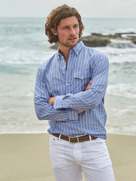 cotton stripe three quarter button down shirt