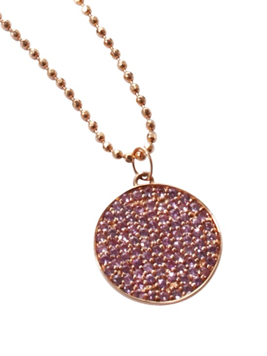 pink sapphire disc necklace
