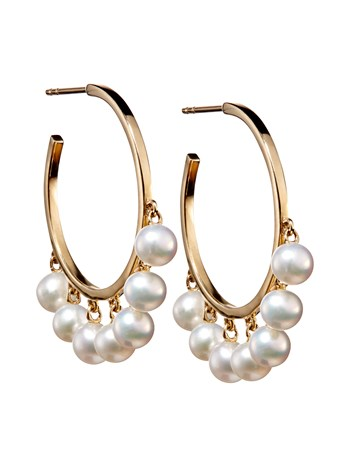 medium pearl drop hoop earring