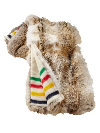 multi stripe coyote fur throw