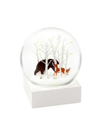 fox and bear snow globe