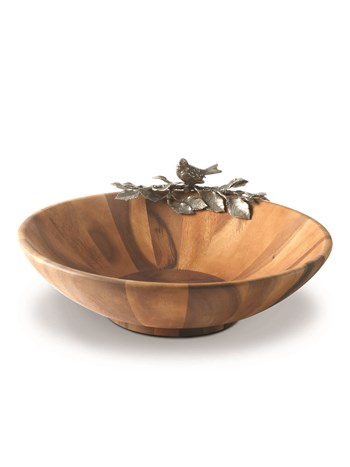 wood salad bowl with bird