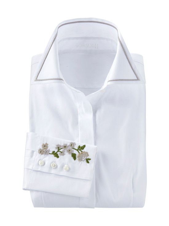 floral cuff embroidered shirt