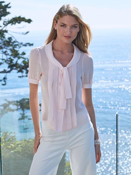 rose tie silk blouse