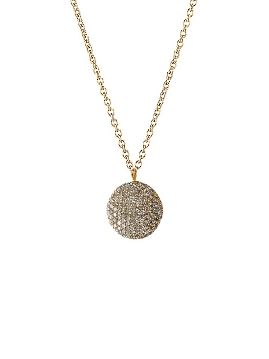 pave diamond disc necklace