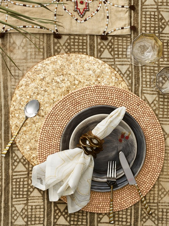 wood beaded placemat