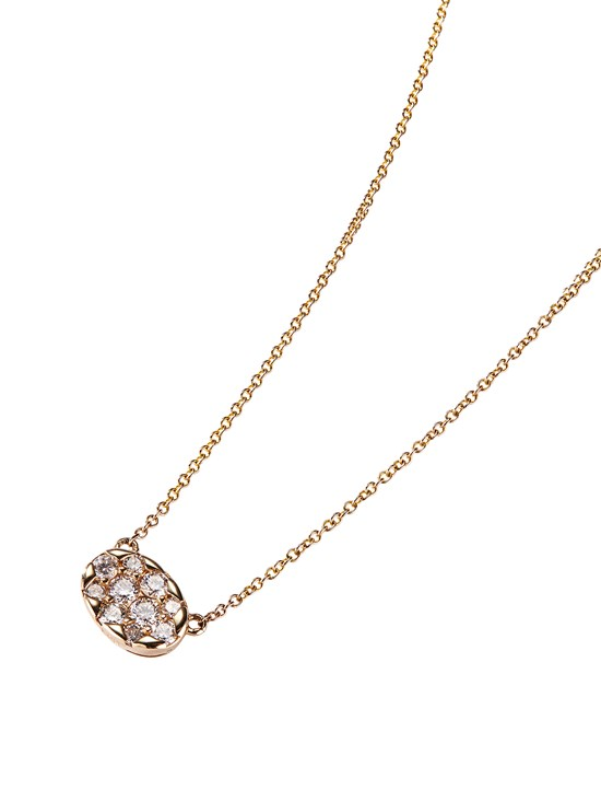 oval diamond cluster necklace