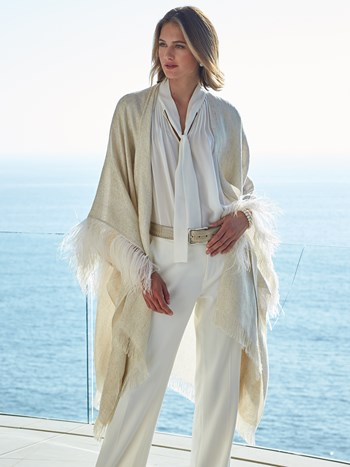 ostrich feather linen lurex wrap
