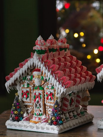 ribbon candy gingerbread house