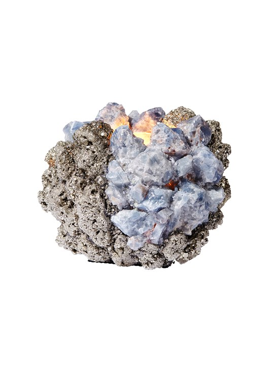 medium blue calcite with pyrite votive