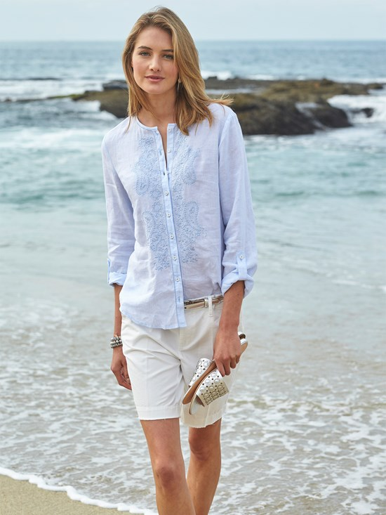 waverly embroidered linen top
