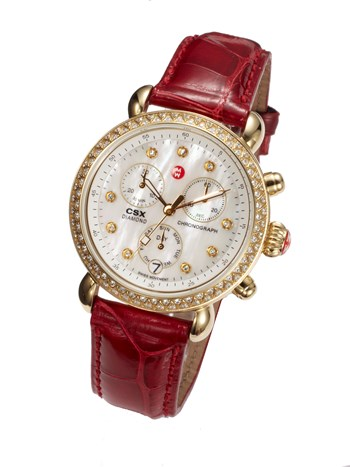 csx-36 gold, diamond dial garnet alligator watch