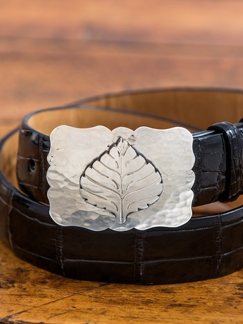 medium hammered scalloped aspen leaf buckle