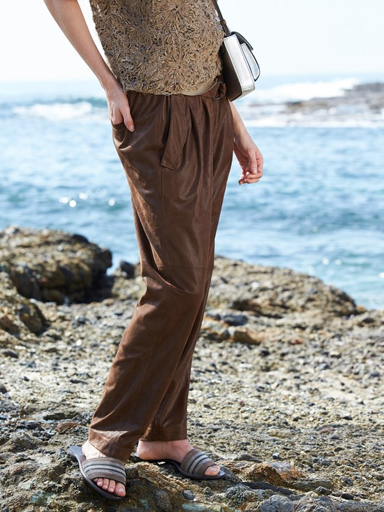 metallic suede pull on pant